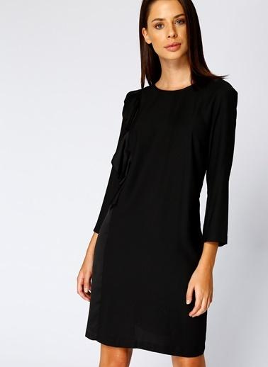 House Of Camellia Truvakar Kol Kısa Elbise Siyah